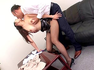 Delightful Japanese honey in sexy fishnet stocking getting slammed xxx