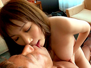 Asian ho rails hard penis on the sofa after sucking dick