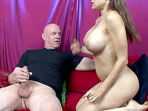 Hot dark-haired with big tits sucking dick and getting fucked