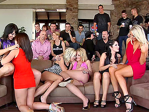 Beautiful pornography bombshells gets beaver screwed xxx in mischievous group orgy
