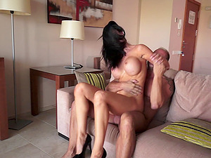 Sexy honeys in threesome get fucked and facial cumshot money-shot after sucking man sausage