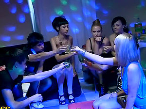 Two Horny Soiree Nymphs Sharing a Dick