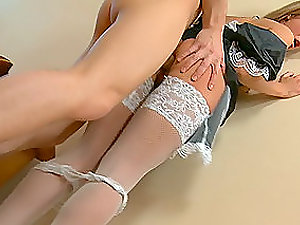 Gonzo Ass fucking Hump with Stunning Blonde Maid in Stockings