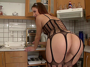 Horny rectal stunner gets fucked in a hot kitchen blowage and bang activity