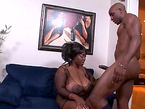 Black BBW honey Nina Starlet gets her twat poked by a dangled stud