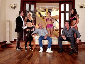 Three swinging duo exchange counterparts and have some wild group hookup
