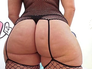 Big donk chick chick in fishnet underwear fucked in the butt by a big man sausage