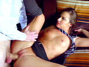 Nubile in uniform has her first-ever big penis fuck-a-thon on a train