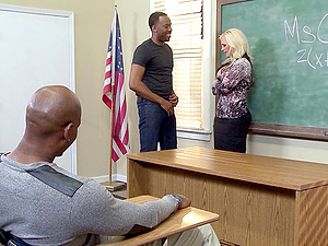Adorable blonde chic engaged in a steamy interracial gang-bang of all times