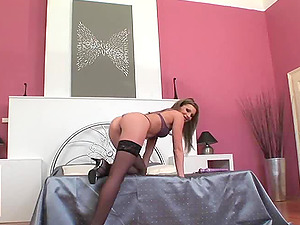 Sexy woman in stockings receives a deep assfucking