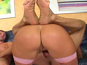 Gifted blonde in fishnets gets fucked gonzo in a threesome