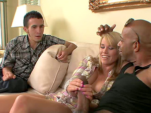 Black dude with a big man sausage fucking a milky bitch while hubby observes