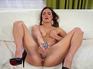 Soft satin undies on the pretty nymph fake penis fucking her hot twat