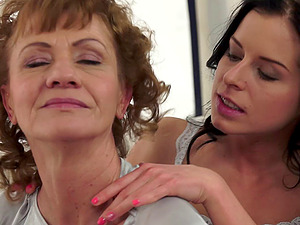 A junior chick has some kinky sapphic hump with a granny