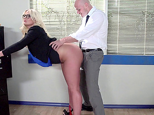 A curvy, big-chested assistant lets her manager hit it from behind