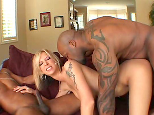 Undergarments wearing milky blonde gets fucked by two rough black guys