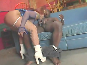 Bootylicious fuckslut with a raw pink cunt and big bum getting banged by a black hunk
