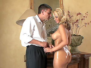 Inviting blonde chick with a curvy lubed-up figure getting her asshole ate and finger-tickled