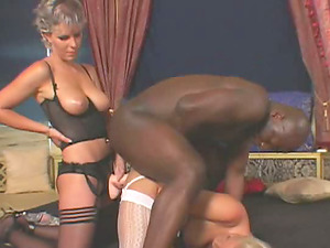 Interracial threesome with a black boy and two milky chicks