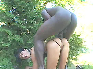 Whore in a whorish clothing has her caboose fucked by a big black hard-on