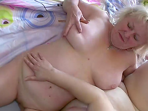 He films two fat old ladies slurping labia and gets a quick BJ