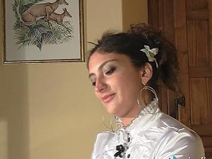 Stunning Italian dark haired in high stilettos for a foot worship