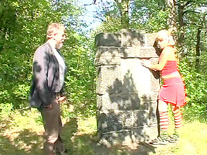 Old stud visiting the graveyard finds a ultra-cute nubile in need of fucking