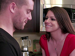 Huge-chested porn industry star Brooklyn Chase entices him in a sexy crimson sundress