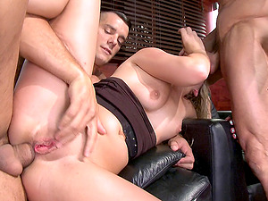 A sexy blonde lets two guys dual penetrate her for cash
