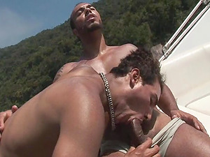 Suave faggot stud milks his man rod while getting his anal invasion jammed on a boat
