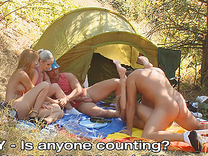 Camping with friends quickly tunrs into a perverse orgy