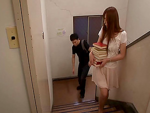 Mischievous Japanese librarian getting fucked hard-core at work