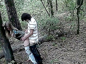 Horny teenagers have an astonishing rear end style fuck in the forest