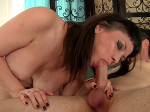 Tattooed honey with big jugs squeals in pleasure as a giant throbber touch against her cunt hard