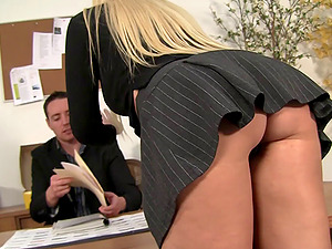 Amazing female supervisor seeks a hard dick in the office