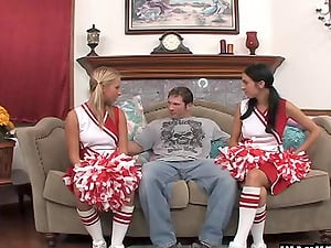 Two kinky cheerleaders in ponytails fuck the coach