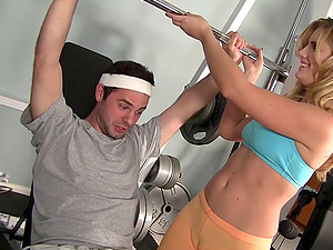 She catches sight of him during a bench press then he presses his shaft into her vulva