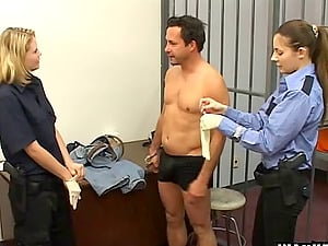 Jail guards put on their spandex gloves and masturbate off an inmate