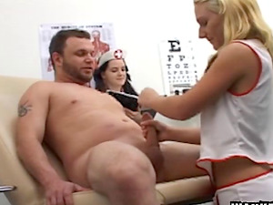 During his medical check-up a hot nurse masturbates a stud off