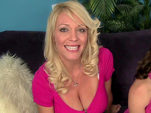 Supah hot mom has a nubile honey over for a mischievous group fuck