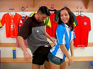 Sporty nubile get plowed by her horny coach in the switching room