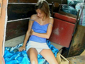 Freckled stunner with pretty blue eyes get off in the shed
