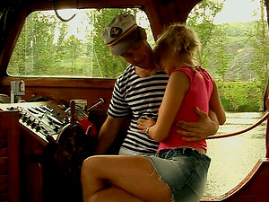 Adorable and salacious teenage gets fucked deep by a horny sailor on the boat