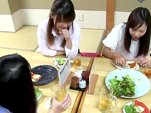 Traditional Japanese breakfast finishes with a dirty lesbo threesome