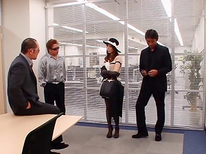 Fashionable Asian nymph fucks three guys in the office