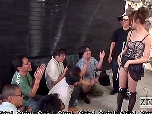 Horny studs witness as Japanese beauty strips then frigs her twat