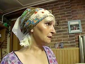 Blonde granny masturbates with fucktoys then gets face fucked