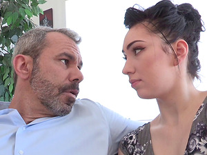 Bashful nubile stunner can't fight back an older man's charm and confidence