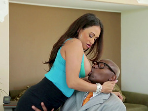 Cuckolding mom & wifey fucking a suspended black dude in front of her hubby