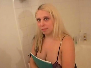 Chubby unexperienced with big tits fellating a hard penis in the bathroom xxx